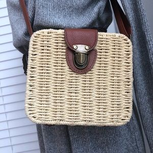Rounded Square Wicker Crossbody